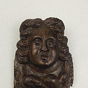Mid 17th Century Carved Oak Angel Wall Hanging