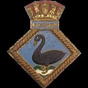 WW2 HMS Black Swan Bronze Boat Badge 1940 Sloop