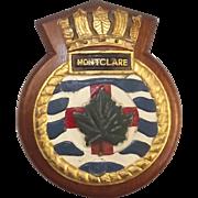 WW2 HMS Montclare (F85) Bronze Boat Badge – Mounted