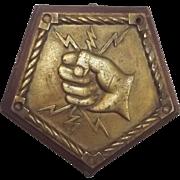 HMS Thunderer Bronze Boat Badge – Mounted 1911 Battleship