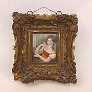 ~ Georgian Oil Miniature Painting Of Lady Hamilton ~