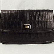 Vintage Black LF Crocodile Skin Handbag
