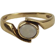 9ct Yellow Gold Opal Ring UK Size P+ US 7 ¾