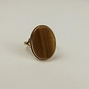 9ct Yellow Gold Tigers Eye Ring UK Size N US 6 ½