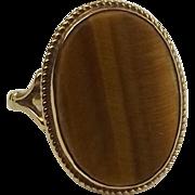 9ct Yellow Gold Tigers Eye Ring UK Size N US 6 ½