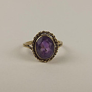 9ct Yellow Gold Amethyst Ring UK Size M+ US 6 ½