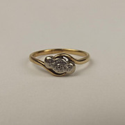 9ct Yellow Gold & Platinum Diamond Ring UK Size Q US 8