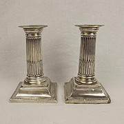 Pair Of Small Silver Corinthian Column Candlesticks Sheffield 1897
