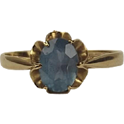 9ct Yellow Gold Blue Topaz Ring UK Size P+ US 7 ¾