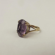 9ct Yellow Gold Amethyst Ring UK Size M US 6