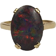 9ct Yellow Gold Opal Ring UK Size N+ US 6 ¾