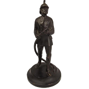 Late Victorian Bronze Model Of A Fireman c1900