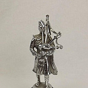 Chromed Bronze Car Mascot Figure Of Scottish Bagpiper c1935