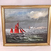 Norman Wilkinson Etching Fishermen And The Needles, Signed
