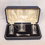 Cased George V Silver Three Piece Cruet Set Birmingham 1931 I S Greenberg & Co