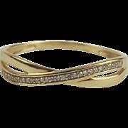 9ct Yellow Gold Diamond Twisted Band Ring UK Size W US 11