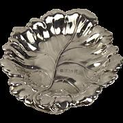 Sterling Silver Leaf Shaped Dish Birmingham 1984