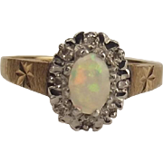 9ct Yellow Gold Opal & Diamond Flower Head Ring UK Size N+ US 6 ¾