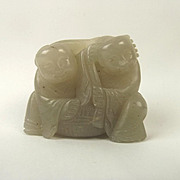 Chinese Ching Nephrite Jade Of Two Boys