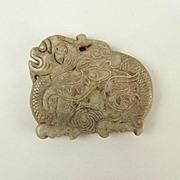 Chinese Ching Dynasty Nephrite Jade Dragon Pendant