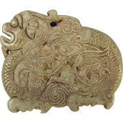 Chinese Ching Dynasty Nephrite Jade Dragon Pendant