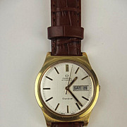 Circa 1972 Gents Gold Plated Omega Geneve Automatic Wristwatch