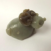 Chinese Ching Dynasty Nephrite Jade Carving Mythical Turtle With Lion Head Creature