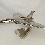 A Chromed Steel Model Of An Avro Vulcan British Bomber Airplane