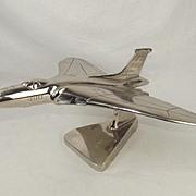 A Chromed Steel Model Of An Avro Vulcan British Bomber Airplane