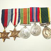 Royal Artillery Territorial WW2 Medal Set Of 5
