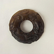 Chinese Nephrite Jade Bi Disk With Dragon