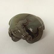 Chinese Nephrite Jade Round Dog Pendant