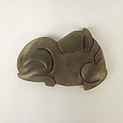 Chinese Ching Dynasty Nephrite Jade Belt Buckle Of A Resting Horse