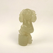 Chinese Ching Dynasty Nephrite Jade Carving Of A Little Boy