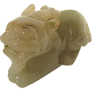 Chinese Ching Dynasty Nephrite Jade Carving Mythical Chi-lin Creature