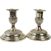 London 1888 Pair Of Small Silver Candlesticks