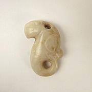 Chinese Neolithic Style Nephrite Jade Pendant Of A Stylized Bird