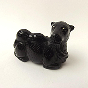 Chinese Ching Dynasty Black Nephrite Jade Carving Of A Camel