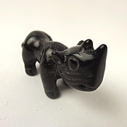 Chinese Ching Dynasty Black Nephrite Jade Pendant Of A Rhino