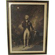 Late Victorian Framed Lithograph Print Of Admiral Lord Nelson
