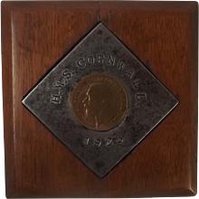 HMS Cornwall 1925 Wooden Mounted Plaque Of A Section Of The Ship
