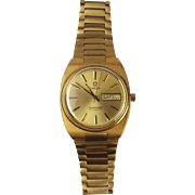 Gents Gold Plated Omega Seamaster Automatic Wrist Watch In Box