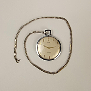Smiths Open Face Pocket Watch & Silver Chain In Box