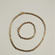 9ct Three Coloured Gold Necklace & Bracelet Set