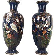 A Pair Of Japanese Cloisonne Enamel Alcove Vases, Late 19th Century