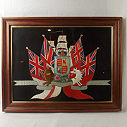 Early 20th Century Framed Royal Navy Royal Arms Silk Work
