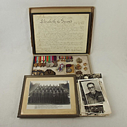 WW2 Medal Set Plus Badges, Photographs Etc-  W.O. II (C.S.M) M.W.F. Pettet - Royal Engineers