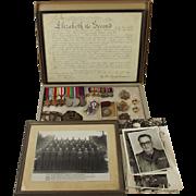 WW2 Medal Set Plus Badges, Photographs Etc-  W.O. II (C.S.M) M.W.F. Pettet - Royal Engineers