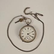 Waltham Watch Co. Open Faced Silver Pocket Watch & Albert Chain Circa 1899