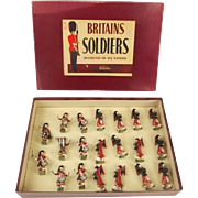 Boxed Britains Soldiers ROAN Set 9435 Highland Pipers Band Of The Black Watch c1950's